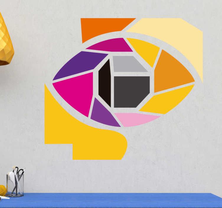 TenStickers. Autocolante decorativo olho em mosaico. Vinis modernos para atualizar a decoração da sua casa com um estilo geométrico e colorido com a representação abstrata de um olho.