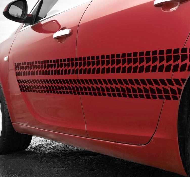 TenVinilo. Cenefa adhesiva para auto rueda. Decora el lateral de tu vehículo con un vinilo para coches muy especial con el dibujo de un neumático.