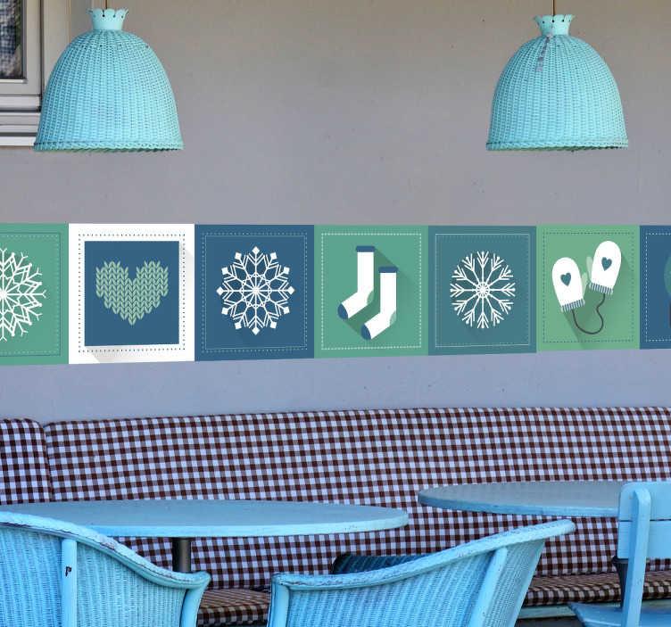 Tenstickers. Koristereunus talviset kuviot. Koristereunus talviset kuviot. Ihana seinätarra, jossa on neliöissä erilaisia talveen liittyviä kuvia kuten lumihiutale ja lapaset.