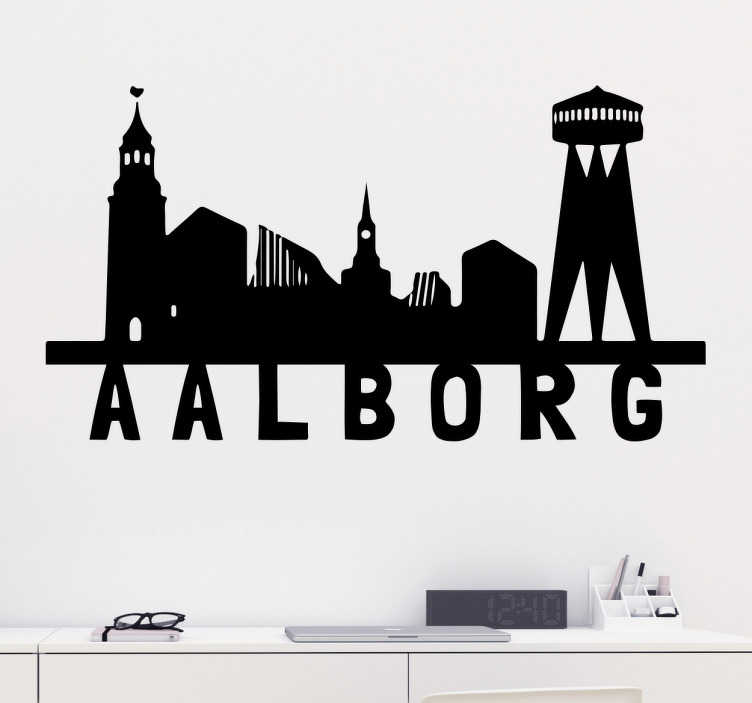TenStickers. Silhuet Aalborg klistermærke. Flot skyline silhuet sticker af Aalborg. Ideelt klistermærke til folk boende eller fra Aalborg. Få silhuet wallstickeren af Nordens Paris her.