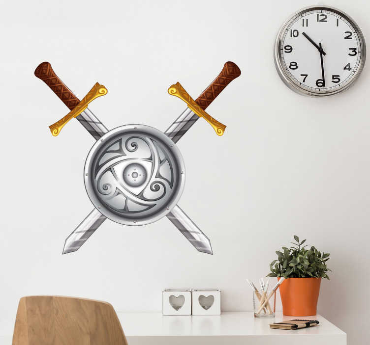 TenStickers. Muursticker viking zwaarden. Ben jij een groot fan van de oude Vikingen? Hang dan deze spectaculaire muursticker in je kamer met een schild en grote zwaarden.