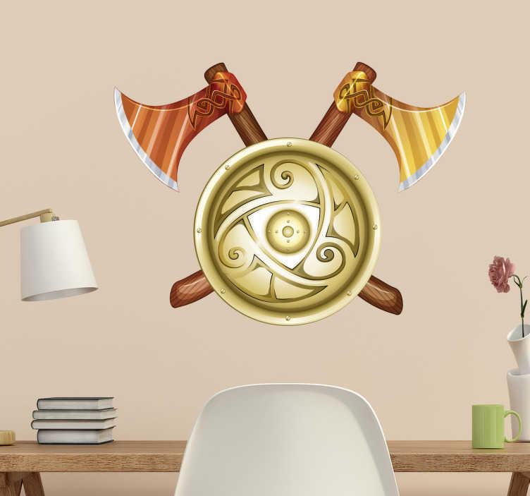 TenStickers. Sticker haches viking. Vous êtes un fan de l'époque viking? Découvrez notre sticker représentant deux haches de viking avec un bouclier.