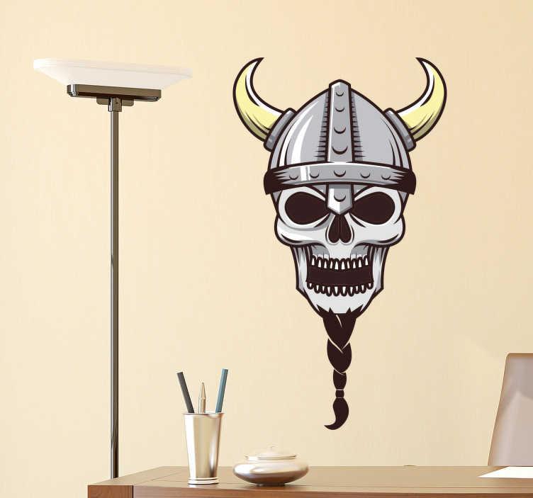 TenVinilo. Vinilo calavera vikingo. Pegatinas para cuartos juveniles con el dibujo de la cabeza de un esqueleto de un vikingo con larga barba trenzada y casco con cuernos.