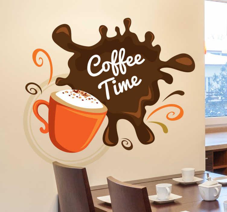 """TenVinilo. Vinilo decorativo coffee time splatter. Vinilos para cocina para los más cafeteros con el diseño de una taza de capuccino y una mancha con el texto en inglés """"tiempo de café""""."""
