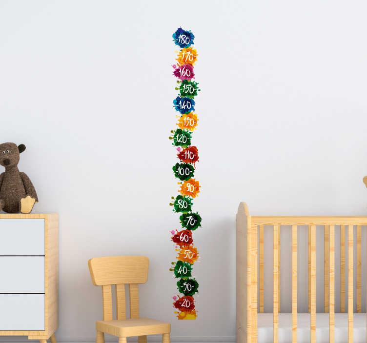 TenStickers. Muursticker groeimeter vlekken. De sticker met kleurrijke spatten brengt een beetje kleur en vreugde in uw huis. Volg de groei van uw kind met deze sticker.