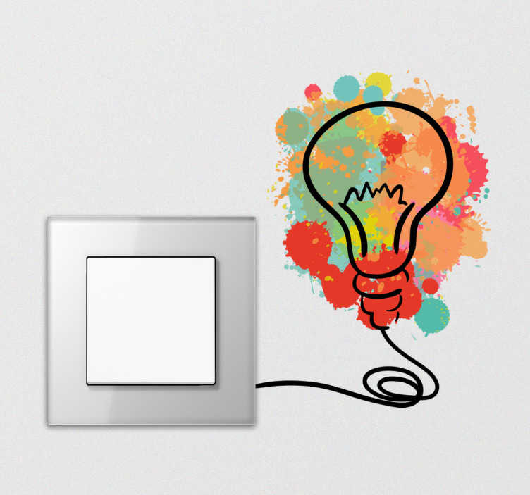 TenStickers. Wandtattoo Glühbirne Splatter. Dezentes Wandtattoo mit einer Glühbirne auf einem bunten Farbklecks. Verschönert Ihren Lichtschlater und sorgt für einen Hingucker.
