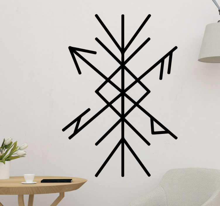 TenStickers. Muursticker runenschrift bescherming. Deze muursticker met de rune als bescherming verfraait je slaapkamer en houdt het kwaad buiten. Haal het leuke en goedkope decoratie in huis!