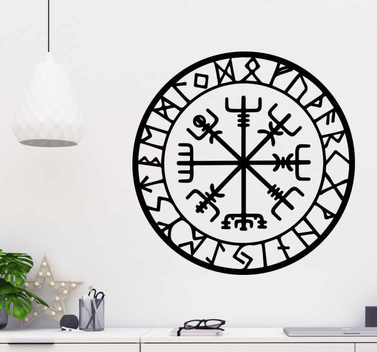 TenStickers. Aufkleber Wikinger Kompass. Schönes, detailliertes Wikinger Wandtattoo des Kompasses Vegvisir. Eine schöne und günstige Dekorationsidee für das Wohnzimmer. Riesige Auswahl