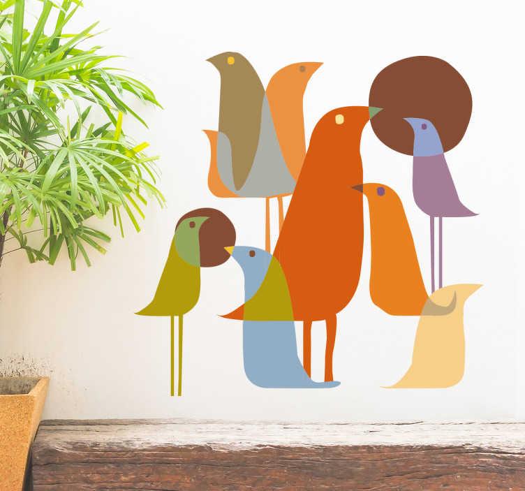 TenVinilo. Vinilo decorativo pájaros estilo minimalista. Vinilos pared originales con la representación de distintas aves superpuestas, ideal para redefinir la decoración de cualquier estancia de tu casa.