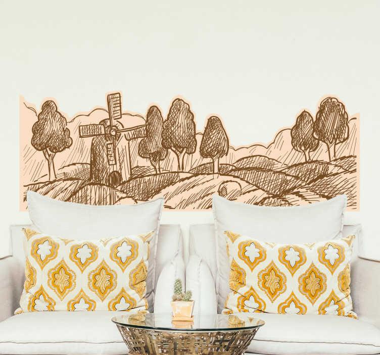 TenStickers. Sticker paysage de campagne. Sticker décoratif mural représentant un paysage de campagne. Idéal pour décorer votre salon.