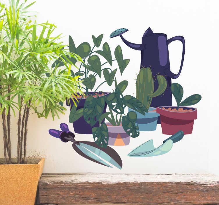 TenStickers. Muursticker tuinieren. Vinyl muursticker met de tekening van verscheidene potten en materiaal om voor de tuin te zorgen, een sticker voor liefhebbers van tuinieren.