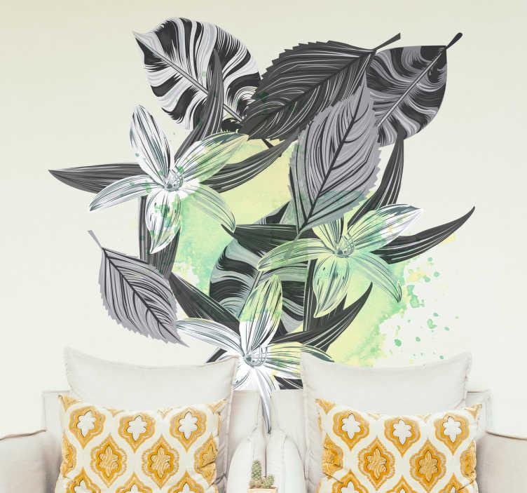 Tenstickers. Sisustustarra kasvit splatter. Sisustustarra kasvit splatter. Mustavalkoiset kasvit ja lehdet seinätarrassa, jossa on koristeena vihreäsävyinen splatterkuvio.