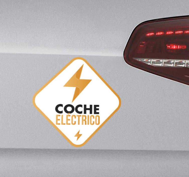 TenVinilo. Pegatina coche eléctrico. Adhesivos para coches eléctricos en los que podrás hacer gala de tu conciencia ecológica e indicar que tu vehículo no usa combustible fósil.