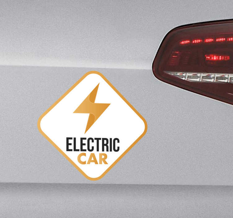 """TenStickers. Sticker electric car. De autosticker met het label """"Elektrische auto"""" geeft aan dat uw auto off-gas en milieuvriendelijk is."""