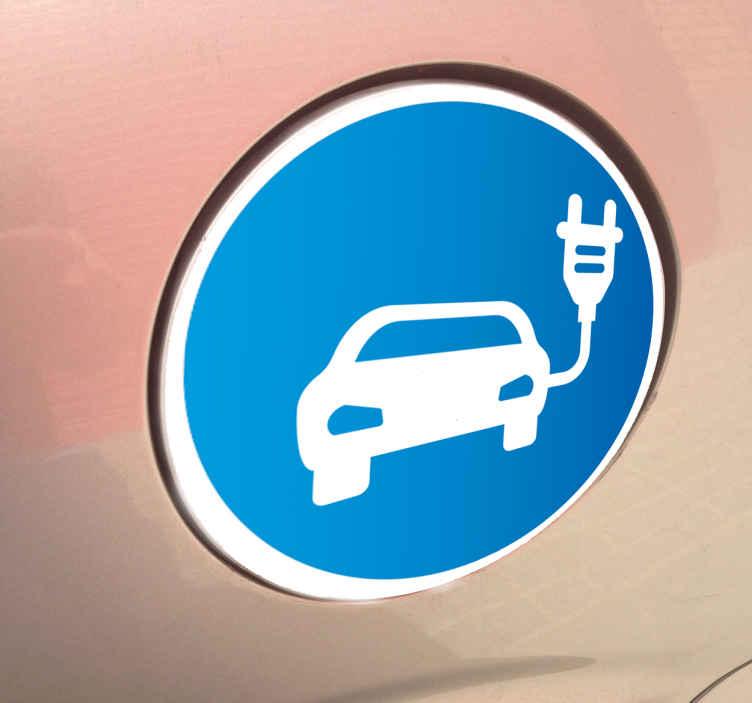 TenStickers. Adesivo per automobile elettrica. Adesivo circolare azzurro per auto elettrica con simbolo stilizzato