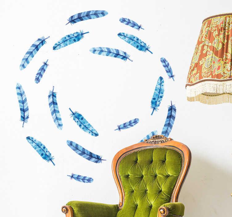 TenStickers. Vinil conjunto de penas azuis. Decore a sua sala de estar, sala de jantar, quarto ou o seu local favorito com este adesivo de penas azuis.