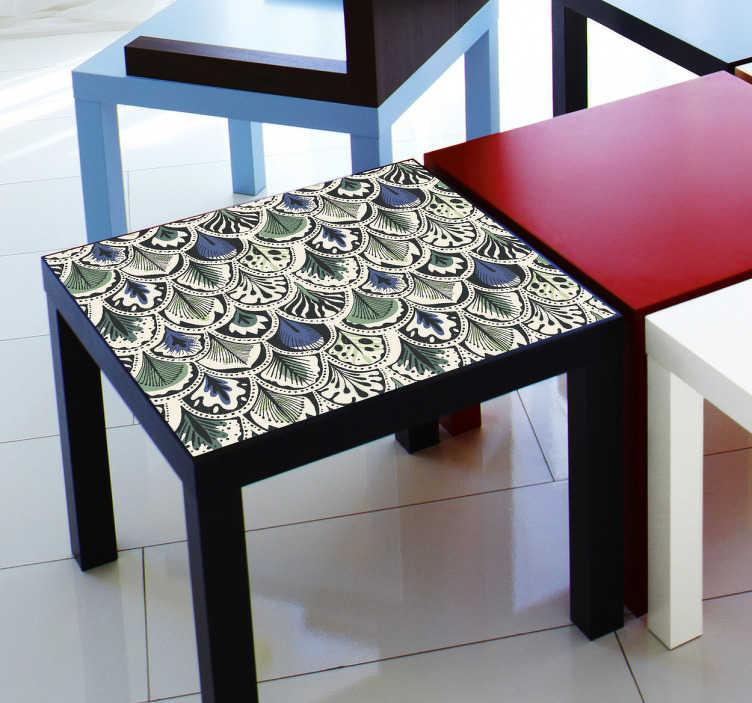 TenVinilo. Vinilo textura pavo real para mueble. Vinilo para muebles Ikea con una elegante textura de plumas que hará tu mesa más robusta y duradera para que no se ralle.