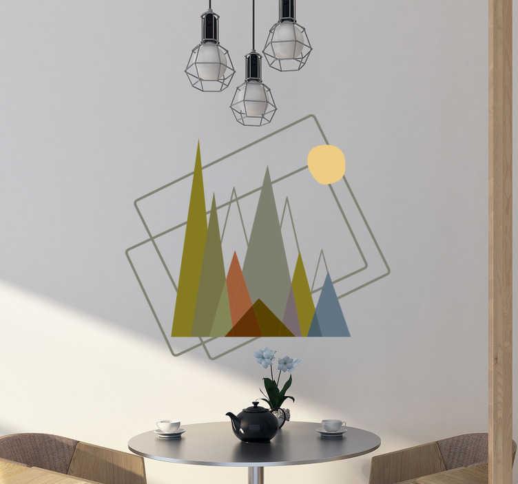 TenStickers. Adesivo montagna minimal. Adesivo decorativo con soggetti montuosi e figure geometriche in uno stile minimalista