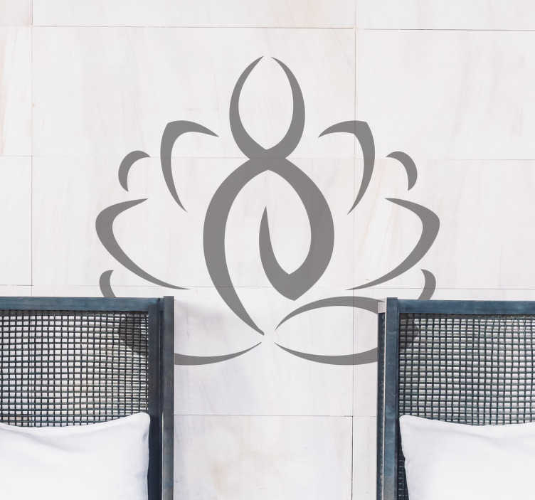TenVinilo. Vinilo decorativo yoga iconografía. Vinilos yoga con la representación sintetizada de una figura en una postura característica, la de flor de loto.
