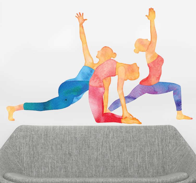 Tenstickers. Sisustustarra jooga-asennot. Sisustustarra jooga-asennot. Ihana värikäs seinätarra, jossa on kolme ihmishahmoa erilaisissa jooga-asennoissa eli asanoissa.