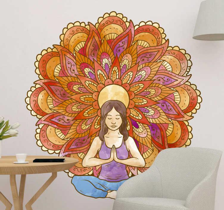 TenVinilo. Vinilos para pared yoga dibujo. Vinilos yoga con la ilustración de un colorido mandala y una mujer meditando en la posición de flor de loto.
