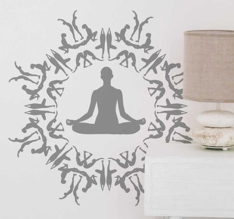 TenStickers. Adesivo murale persona all'interno di un cerchio. Sagoma sticker all'interno di un cerchio realizzato da simboli dello Yoga, per donare un'atmosfera meditativa alla stanza