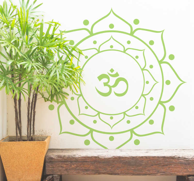 TenVinilo. Vinilos yoga mandala floral. Vinilos para pared yoga con una representación de una flor de loto con un símbolo hindú característico en la parte central.