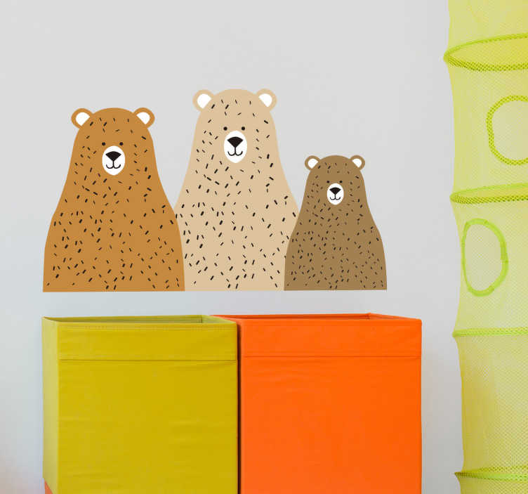 TenStickers. Muursticker drie beren. Versier de kamer van uw zoon of dochter met een muursticker voor kinderen, over het verhaal van de drie beren.