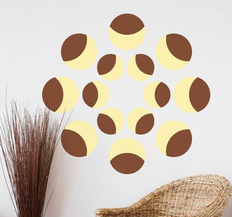TenVinilo. Vinilo abstracto fases luna. Vinilos para pared con un moderno dibujo simétrico de círculos que simulan ser representaciones de nuestro satélite.