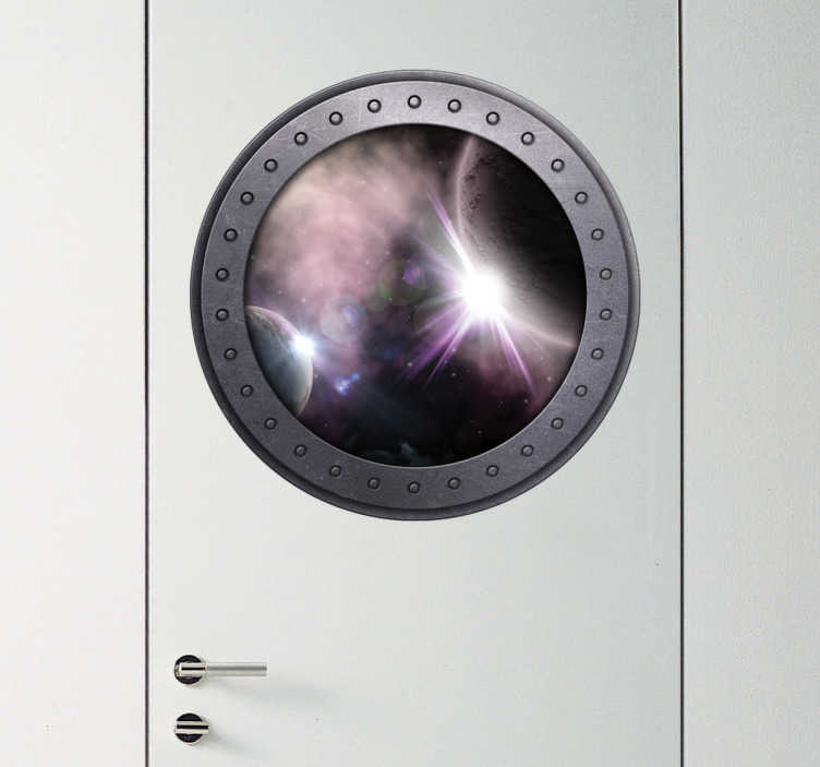 TenStickers. Wandtattoo Fenster zum Weltraum. Cooles Special Effect Wandtattoo mit einem Fenster aus welchem man in den Weltraum blickt. Tolle Dekorationsidee für Türen!