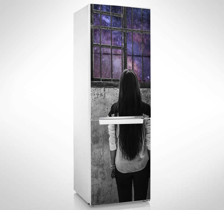 TenVinilo. Vinilo mural vistas al espacio. Murales y vinilos adhesivos con un diseño original y poético en el que una joven se asoma a una ventana con vistas al universo.