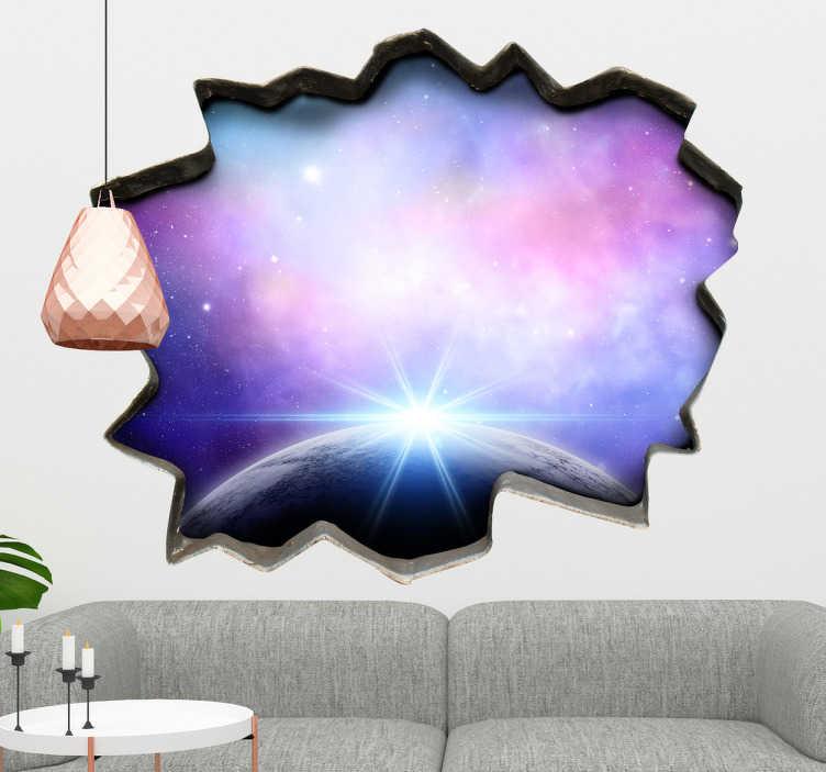 TenStickers. Muursticker gat naar de ruimte. Een muursticker die lijkt op een gat in de muur, waarachter zich een fascinerend beeld van de ruimte vertoont met planeten en sterren.