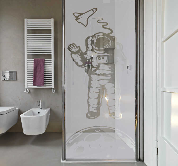 sticker paroi de douche astronaute tenstickers. Black Bedroom Furniture Sets. Home Design Ideas