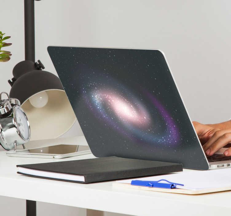 TenVinilo. Vinilo para portátil textura galaxia. Ahora podrás personalizar la pantalla de tu portátil con pegatinas exclusivas con el dibujo de un galaxia en espiral de vivos colores.