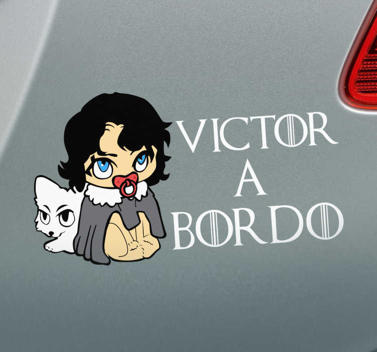 TenVinilo. Vinilo Jon Snow a bordo. Vinilos Game of Thrones, para colocar sobre el chasis o la luna trasera de tu vehículo si tienes un niño pequeño dentro.