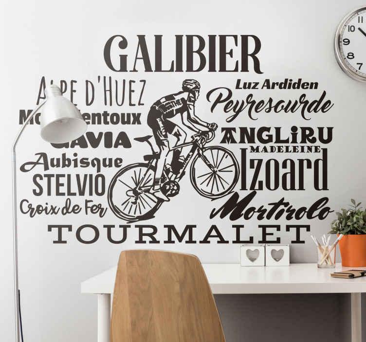 TenStickers. Muursticker wielrennen plaatsen. Decoratieve muursticker voor wielrenners en liefhebbers van deze sport met een tekening van een gang en de belangrijkste bergpassen er omheen.