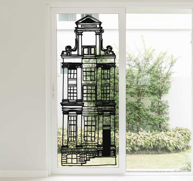 TenStickers. Raamfolie Hollandse huisjes. Wilt u typisch Hollandse raamdecoratie, maar dan net anders? Kies dan voor deze stijlvolle grachtenpandjes raamfolie in getekende stijl.