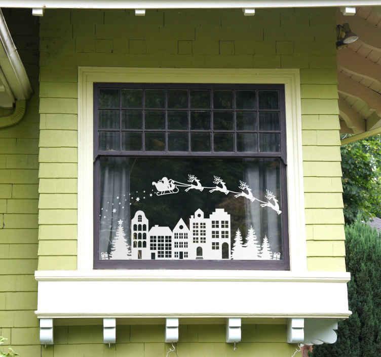 TenStickers. Raamsticker kerst tafereel. Een sfeervolle raamsticker voor een heerlijke kerstsfeer in en om het huis. Trendy raamdecoratie voor met de feestdagen.