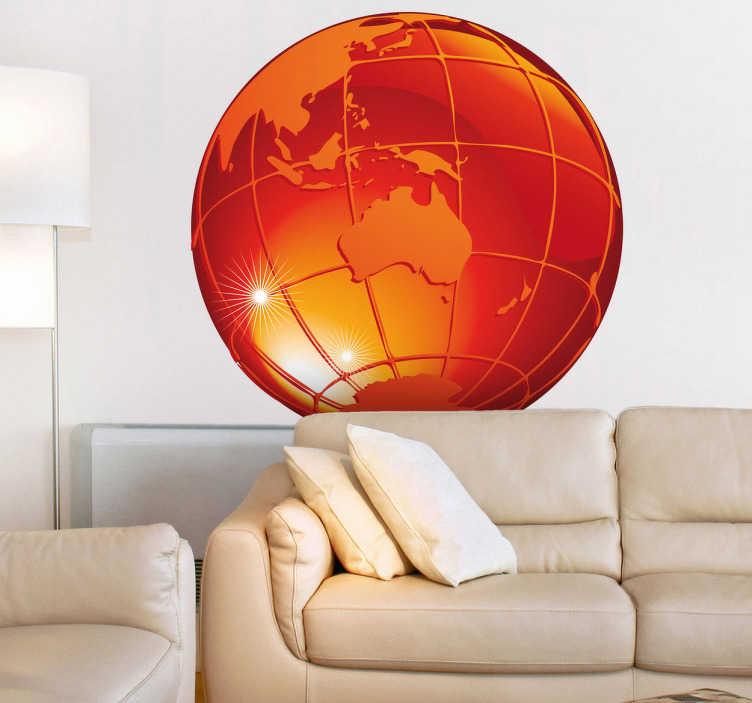 TenStickers. Sticker decorativo pianeta ardente 1. Adesivo murale che raffigura la sfera terrestre di colore arancione, con vista sull'Antartide, sull'Australia e su parte dell'Asia.