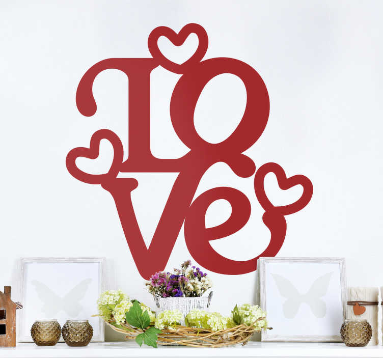 TenStickers. Muursticker love design. Decoratief vinyl met een mooi ontwerp van het woord Love samen met een aantal harten. Perfecte muursticker om uw huis mee te versieren.