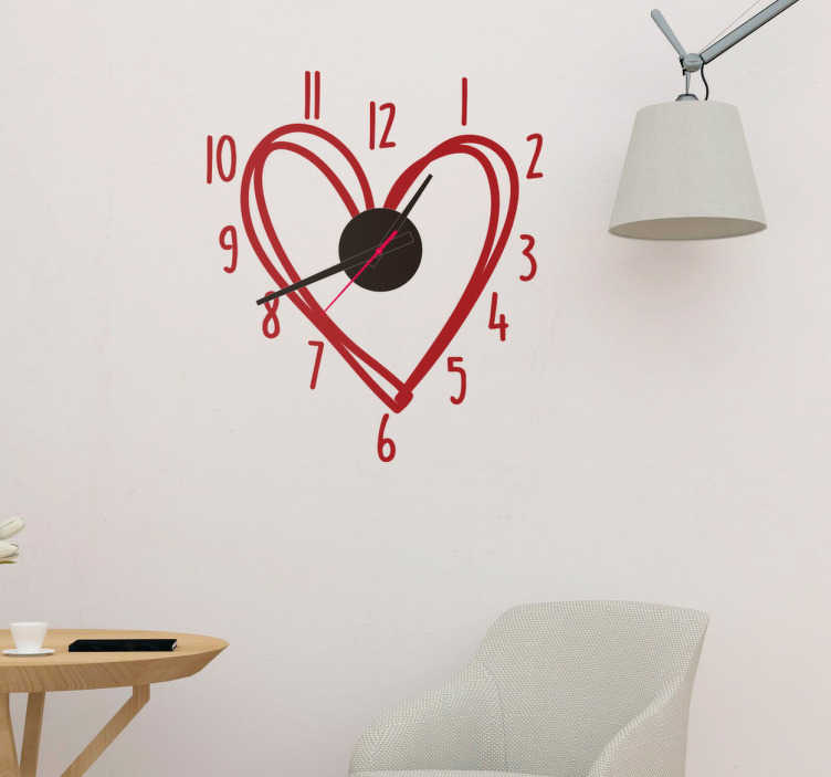 TenStickers. Klok sticker hart. Een fraaie muursticker met een werkend klokmechanisme op batterijen. Stijlvol design van een hart voor een leuke inrichting van uw huis.