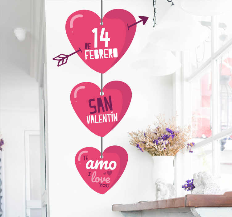 TenVinilo. Decoración San Valentín corazones. Vinilos para San Valentín, ideales para decorar tanto el interior de tu negocio como el escaparate.