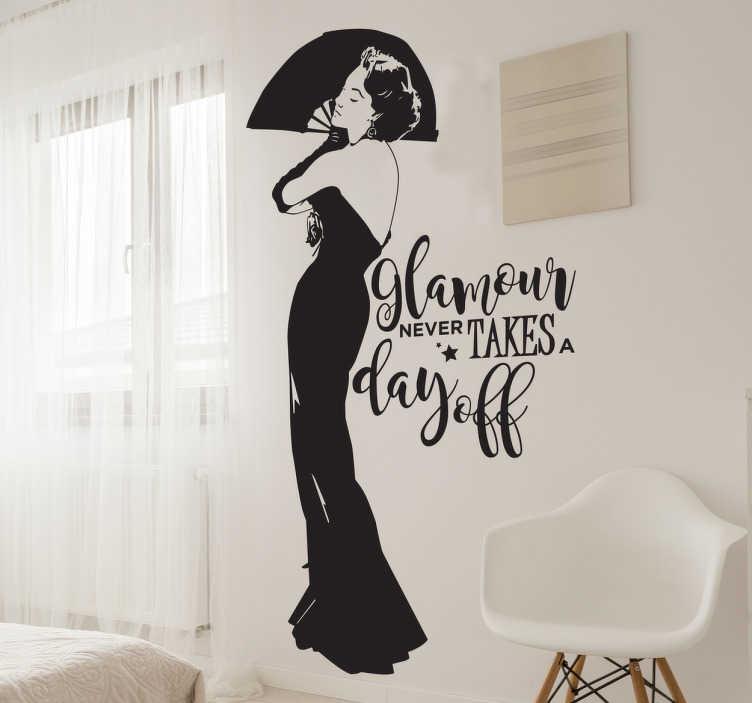 """Tenstickers. Koristetarra nainen ja glamour. Koristetarra nainen ja glamour. Tyylikäs sisustustarra, jossa on nainen mustassa pitkässä iltapuvussa ja teksti """"Glamour never takes a day off."""""""