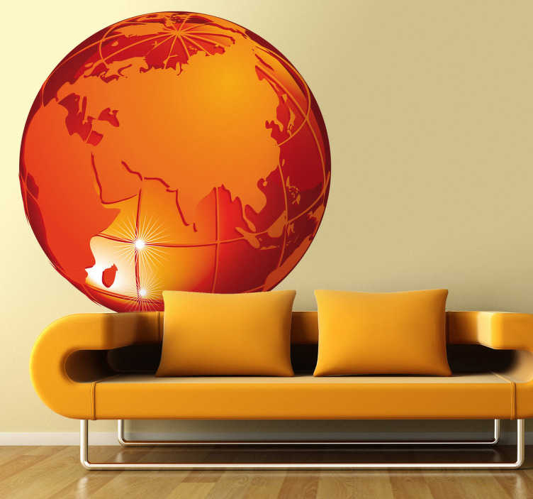 TenStickers. Naklejka pomarańczowa planeta. Orginalna naklejka na ścianę przedstawiająca planetę ukazaną w efekcie 3D ze strony euroazjatyckiej. Dekoracja wnętrza dla wszystkich miłośników podróży.