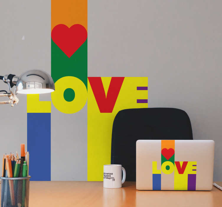 TenVinilo. Vinilo pop love. Vinilos amor, con un diseño colorido y llamativo que incorpora los colores de la bandera gay.