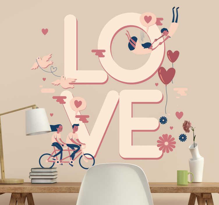 """TenStickers. Muursticker love koppels. Verklaar de liefde met deze romantische muursticker met het woord """"LOVE"""" en tekeningen van koppels en omringende harten."""