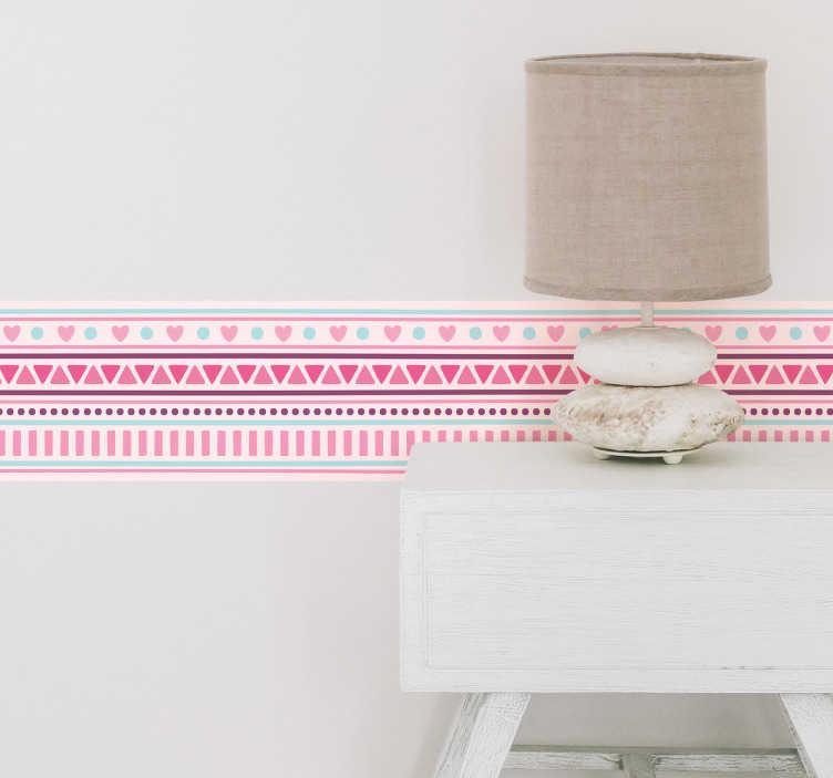TenStickers. Bordüre rosa Herzen. Schöne Bordüre als Wandtattoo mit verschiedenen Formen und pinken Herzen. Schöne Dekorationsidee für das Kinderzimmer.