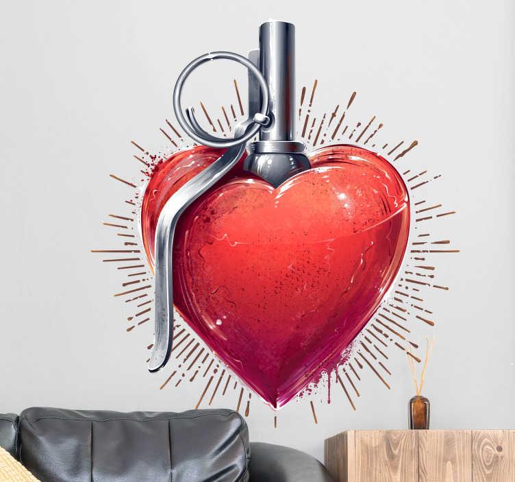 TenStickers. Muursticker hart handgranaat. Muursticker met een opvallend ontwerp van een hart met een pin van een handgranaat, voor gepassioneerde koppels.