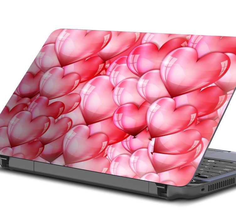 TenStickers. Laptopaufkleber Herzen. Süßer Aufkleber für den Laptop mit vielen Herzen. Zeigen Sie der Welt ein bisschen Liebe und verschönern Sie Ihren Laptop.