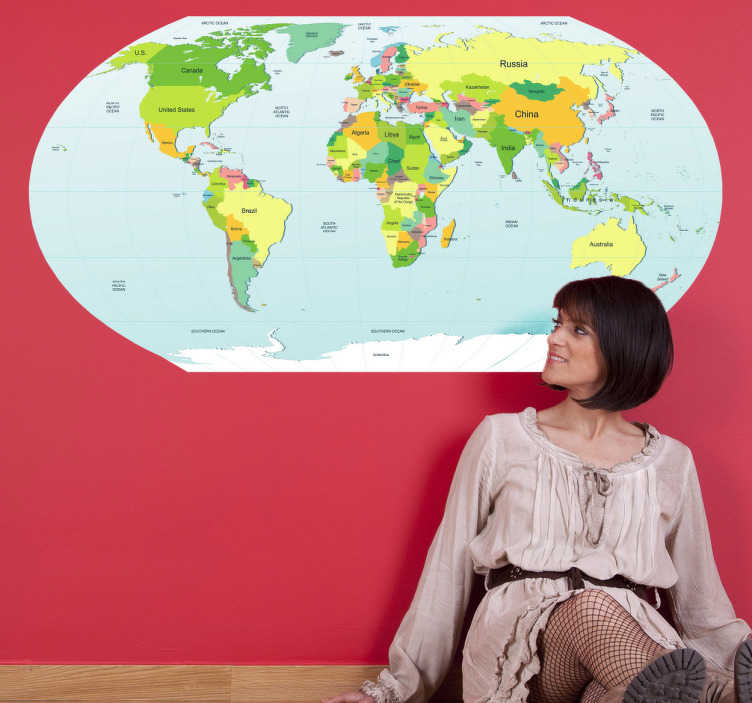 TenStickers. Political World Map Sticker. Decorative wall decal of the globe. Ideal for decorating walls of rooms, offices, classrooms and more.